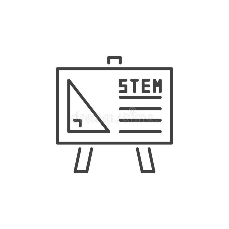 Het vector eenvoudige pictogram van STAMwhiteboard in dunne lijnstijl stock illustratie