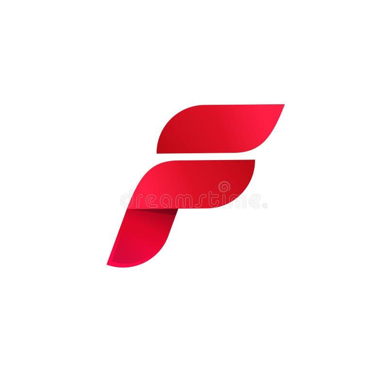 Het vector, elegante abstracte symbool van de de gradiënt rode kleur van het brievenf embleem, geïsoleerd het malplaatjeontwerp v royalty-vrije illustratie