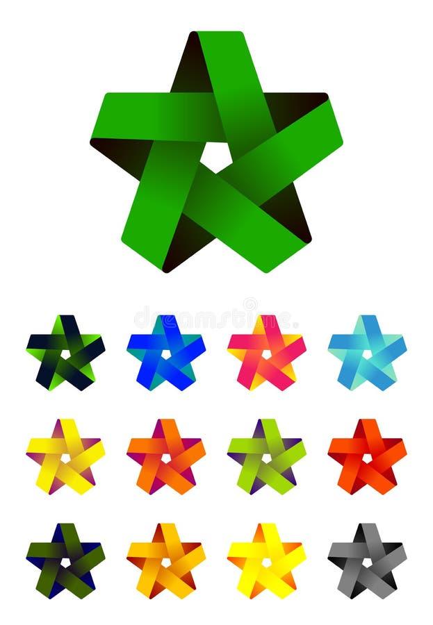 Het vector embleem van de lintster in perceel van pictogramontwerp vector illustratie