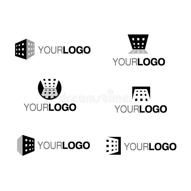 Het vector embleem van het de bouwbedrijf mono stock illustratie