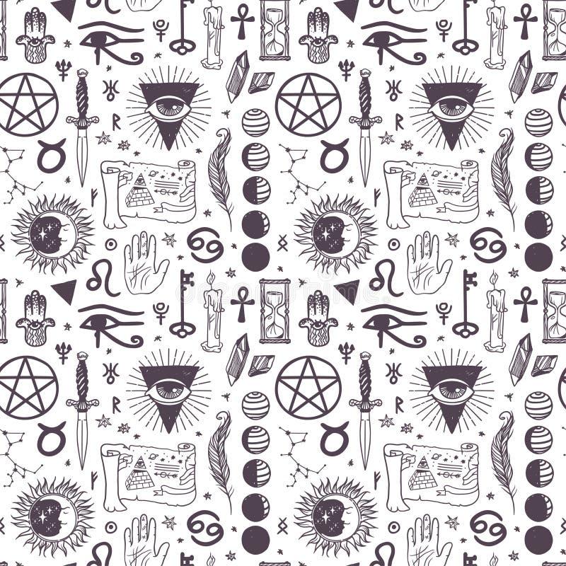 Het vector esoterische patroon van astrologiesymbolen royalty-vrije illustratie