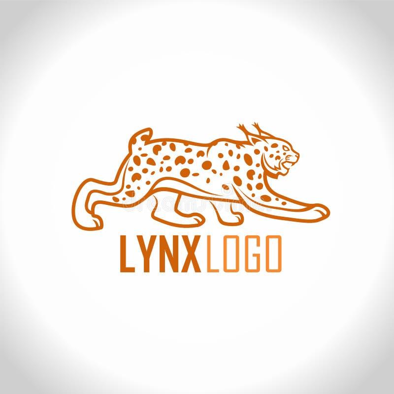 Het vector geïsoleerde embleem van de lynx Onbetrouwbare mascotte stock illustratie