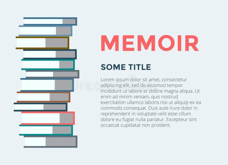 Het vector geïsoleerde pictogram van de boekenstapel Voorbeeldenboek, pen, potlood en andere apparatuur royalty-vrije illustratie