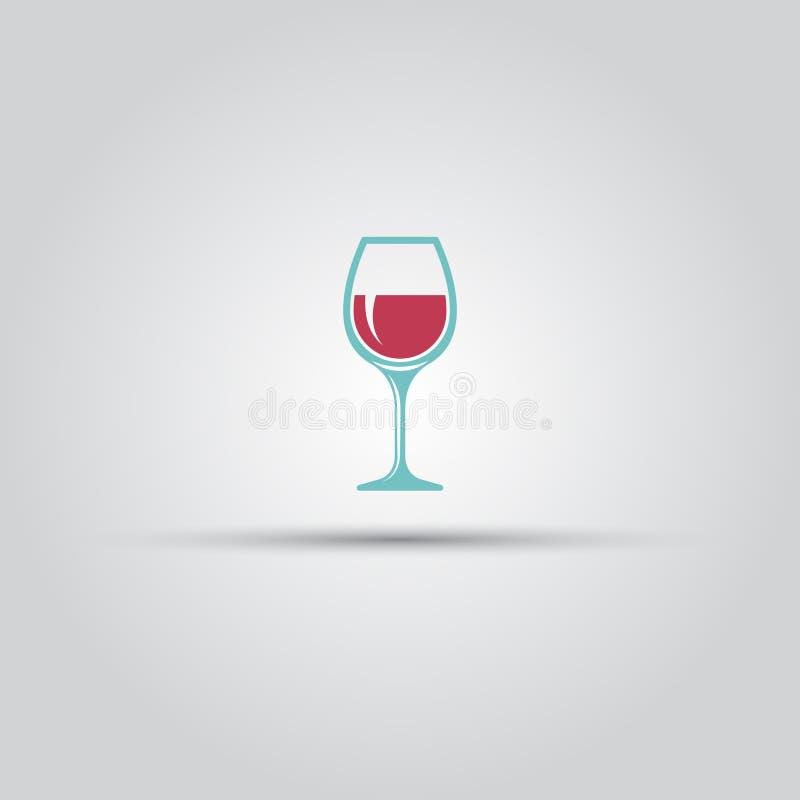 Het het vector gekleurde pictogram of teken van het wijnglas stock illustratie
