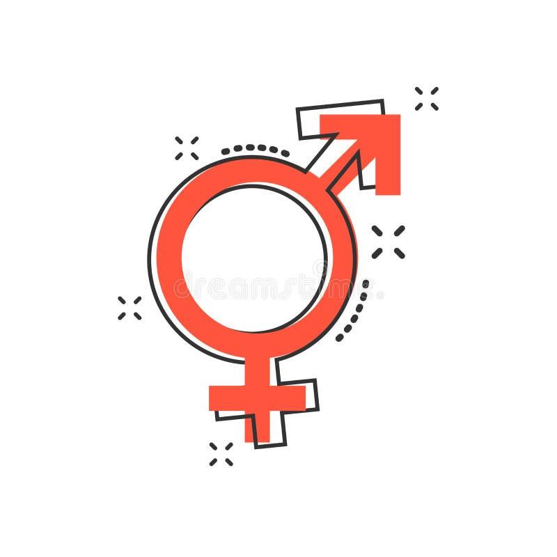 Het vector gelijke pictogram van het beeldverhaalgeslacht in grappige stijl Mannen en vrouwen s royalty-vrije illustratie