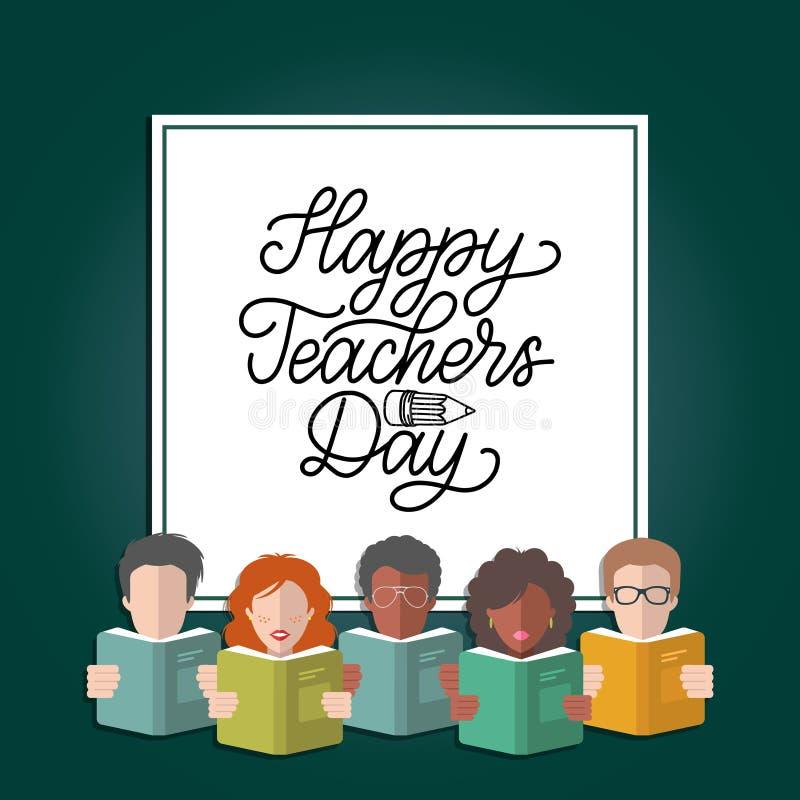 Het vector Gelukkige de hand van de Lerarendag van letters voorzien in kader met illustratie in vlakke stijl stock illustratie