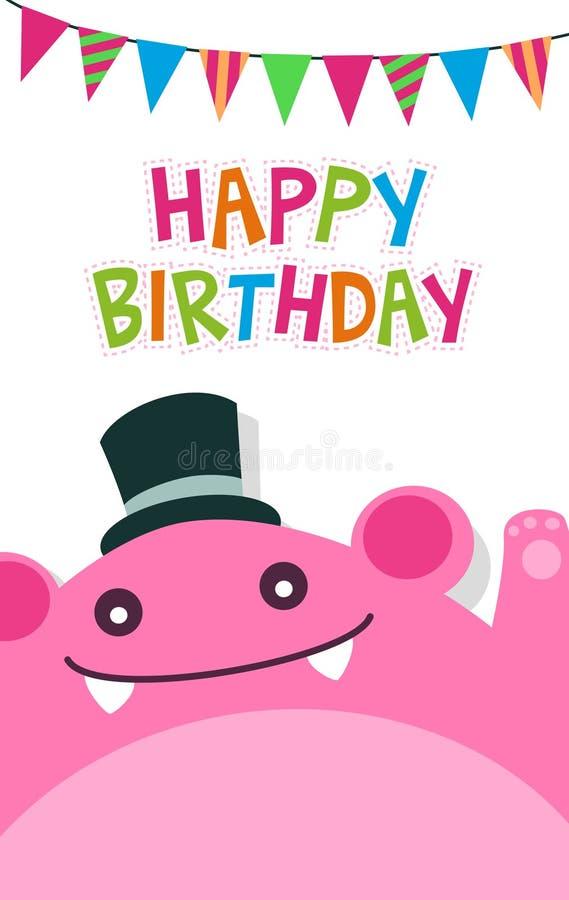 Het vector gelukkige malplaatje van de verjaardagskaart met leuke roze monster en vlag royalty-vrije illustratie