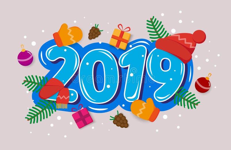 Het vector Gelukkige Nieuwjaar 2019 van de groetkaart met speelgoed, giften, boom vertakt zich, de winterhandschoenen, denneappel royalty-vrije illustratie
