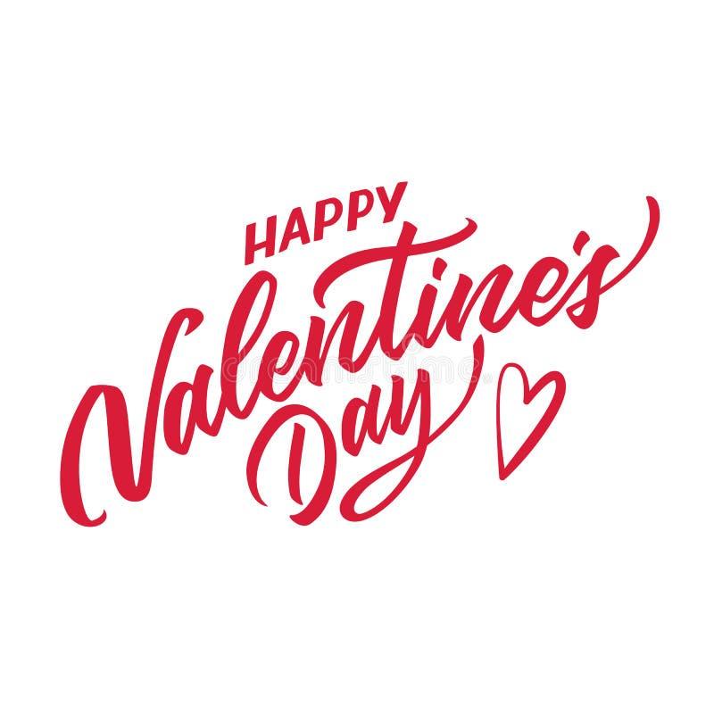 Het vector gelukkige valentijnskaartendag hand getrokken van letters voorzien vector illustratie