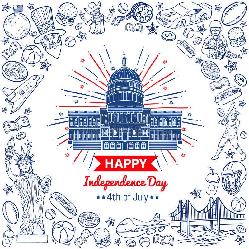 Het vector gelukkige vierde van de krabbelvoorraad van juli-onafhankelijkheidsdag van de Verenigde Staten royalty-vrije illustratie