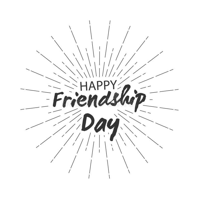 Het vector gelukkige vriendschapsdag van letters voorzien met starburst voor het ontwerp van groetkaarten Geïsoleerdj op witte ac vector illustratie