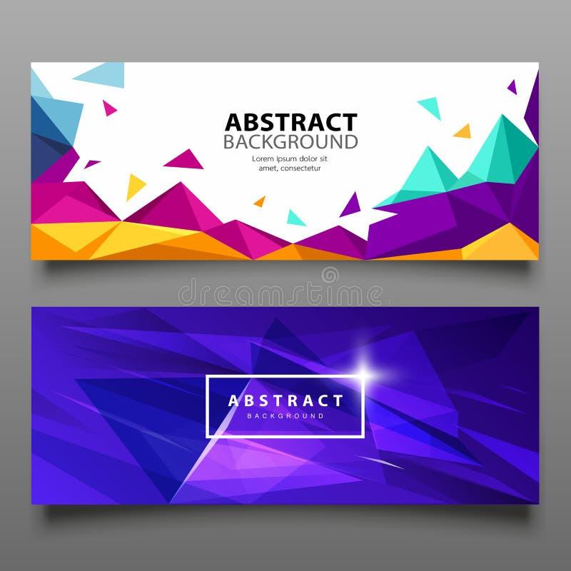 Het vector geometrische abstracte kleurrijke ontwerp van de Bannersdriehoek royalty-vrije illustratie