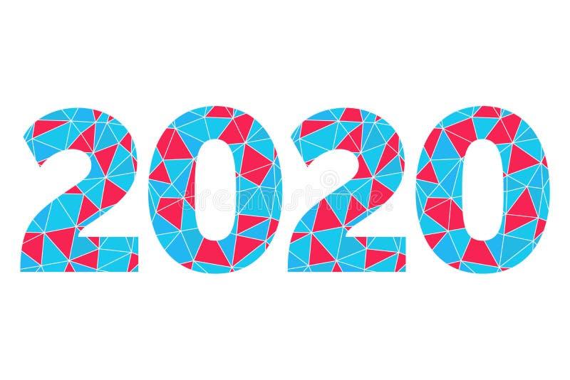 het vector geometrische pictogram van 2020 Gelukkige Nieuwjaar abstracte illustratie voor decoratie, viering, infographic de wint royalty-vrije stock foto