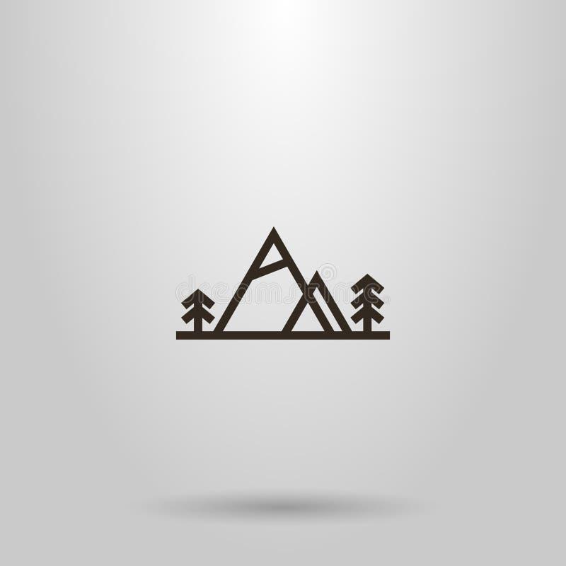 Het vector geometrische teken van de horizontale lijnkunst van twee bergen en naaldbomen naast hen vector illustratie