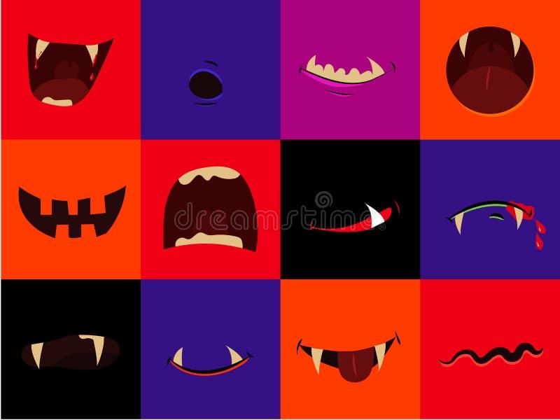 Het vector geplaatste pictogram van Halloween - de monden van het beeldverhaalmonster Vampier, weerwolf, pompoen, spook vector illustratie