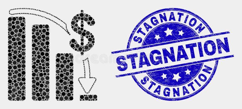 Het vector Gestippelde Financiële Heldendicht ontbreekt Grafiekpictogram en Gekrast Stagnatiewatermerk vector illustratie