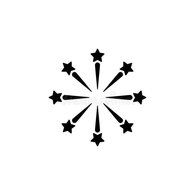 Het vector, gevulde vectorteken van het vuurwerkpictogram, stevig die pictogram op wit, embleemillustratie wordt geïsoleerd vector illustratie