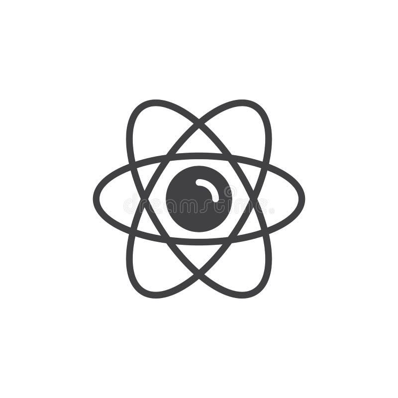 Het vector, gevulde vlakke teken van het atoompictogram, stevig die pictogram op wit wordt geïsoleerd royalty-vrije illustratie