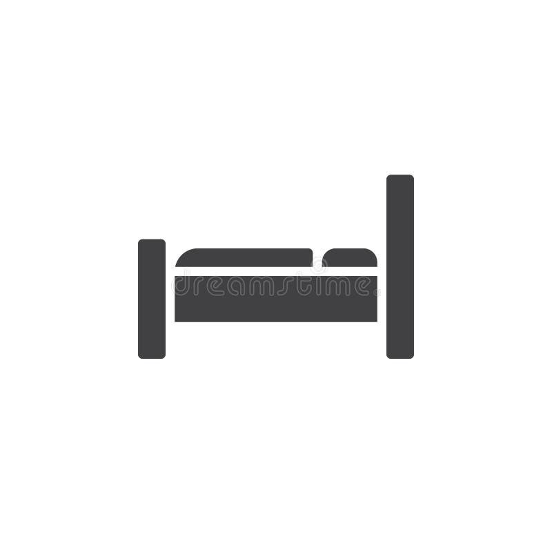 Het vector, gevulde vlakke teken van het bedpictogram, stevig die pictogram op wit wordt geïsoleerd vector illustratie