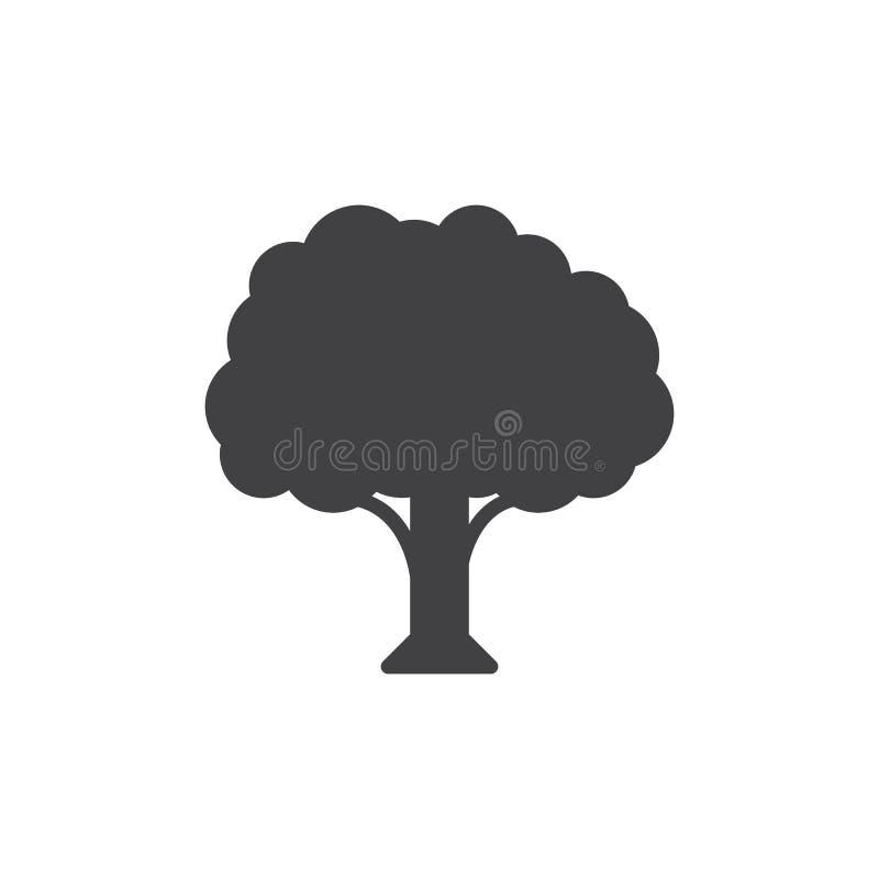 Het vector, gevulde vlakke teken van het boompictogram, stevig die pictogram op wit wordt geïsoleerd stock illustratie