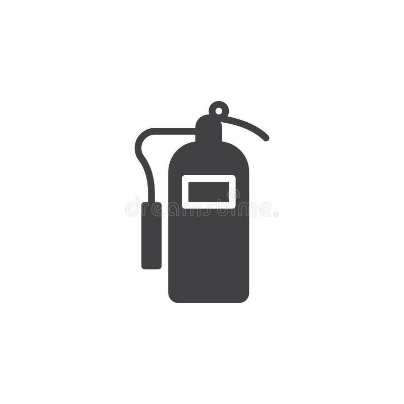 Het vector, gevulde vlakke teken van het brandblusapparaatpictogram, stevig die pictogram op wit wordt geïsoleerd stock illustratie
