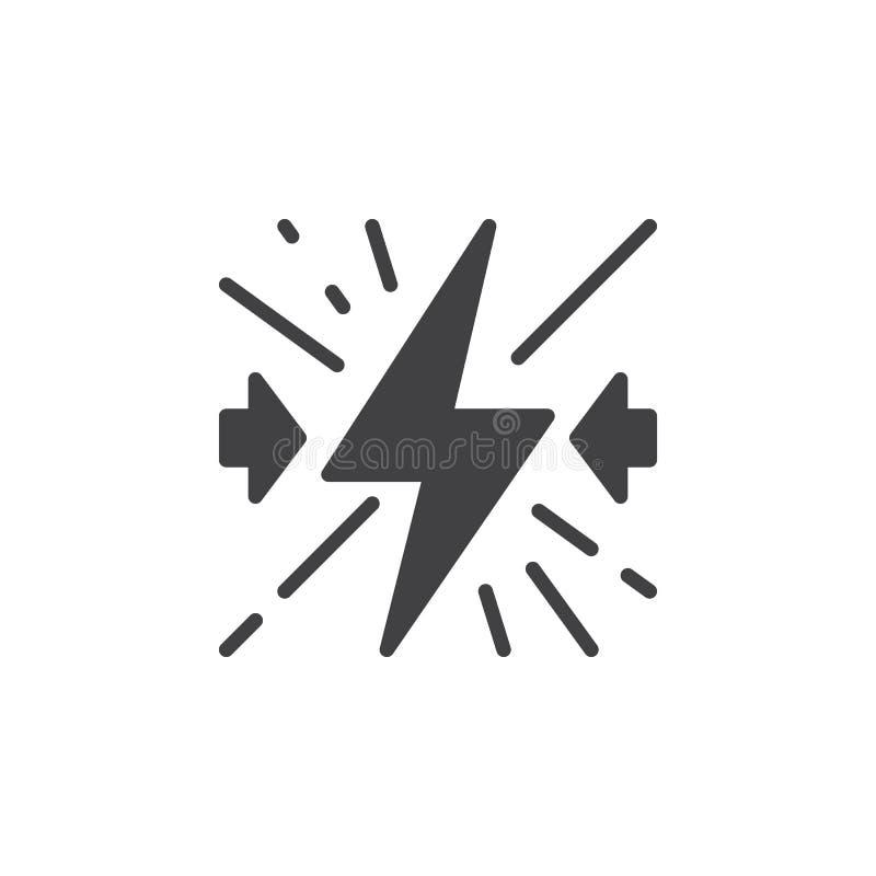 Het vector, gevulde vlakke teken van het conflictpictogram, stevig die pictogram op wit wordt geïsoleerd stock illustratie