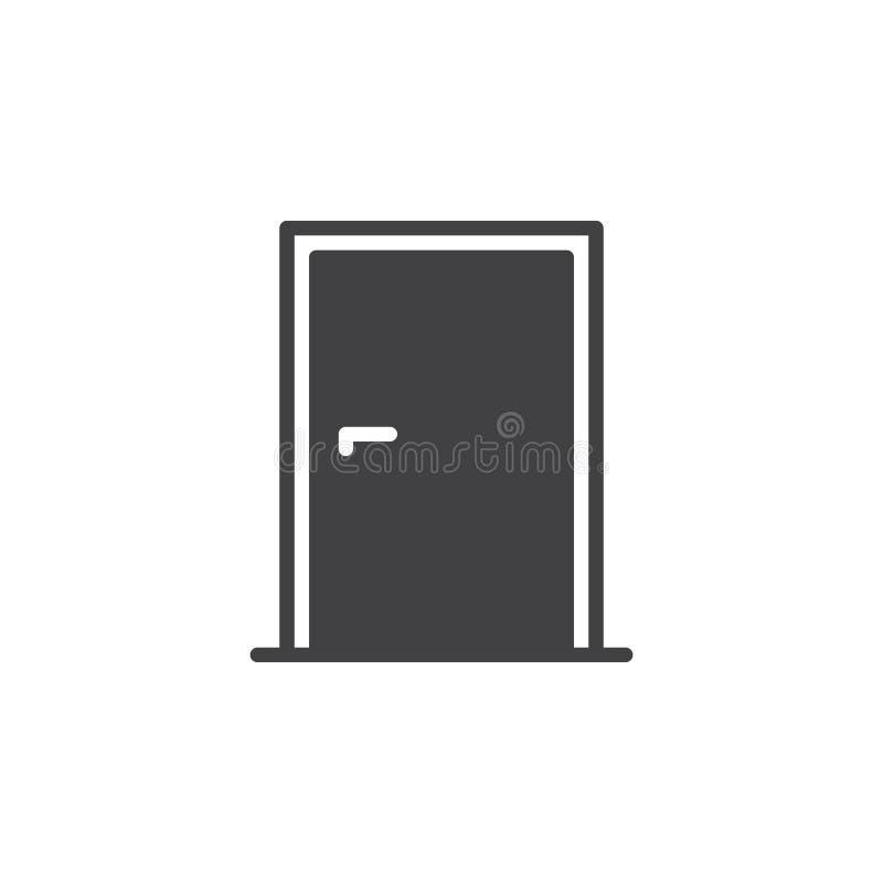 Het vector, gevulde vlakke teken van het deurpictogram, stevig die pictogram op wit wordt geïsoleerd royalty-vrije illustratie