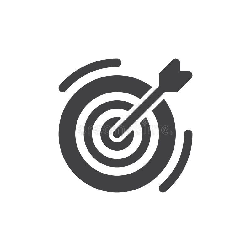 Het vector, gevulde vlakke teken van het doelpictogram, stevig die pictogram op wit wordt geïsoleerd stock illustratie