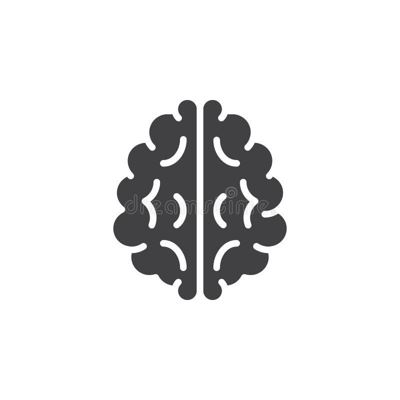Het vector, gevulde vlakke teken van het hersenenpictogram, stevig die pictogram op wit wordt geïsoleerd vector illustratie