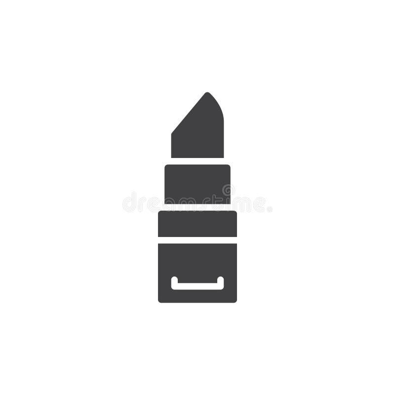 Het vector, gevulde vlakke teken van het lippenstiftpictogram, stevig die pictogram op wit wordt geïsoleerd vector illustratie