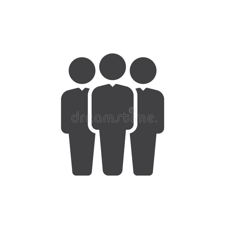 Het vector, gevulde vlakke teken van het mensenpictogram, stevig die pictogram op wit wordt geïsoleerd Het symbool van de teamlei vector illustratie