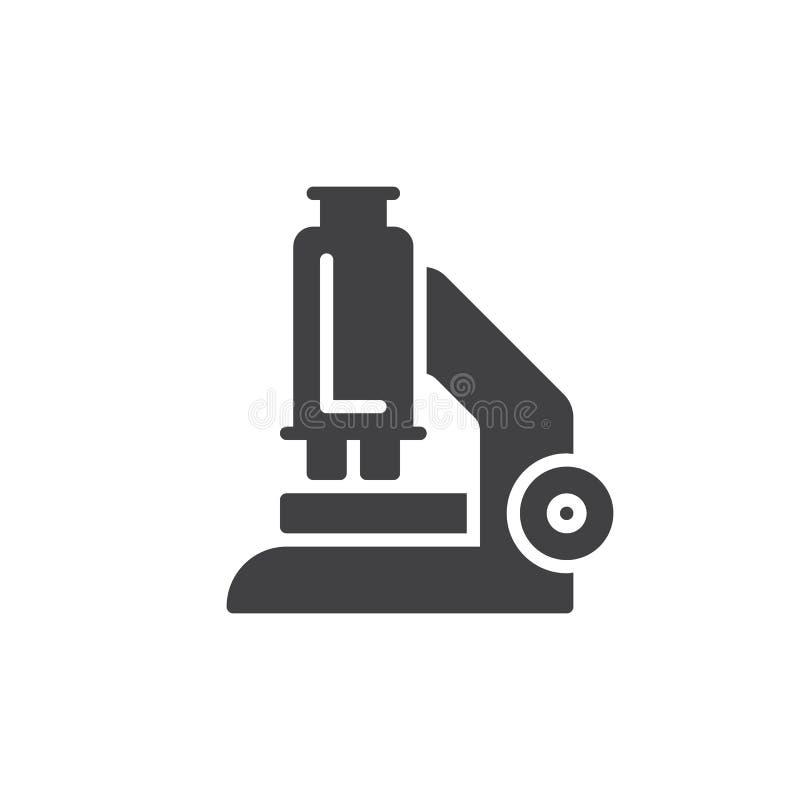 Het vector, gevulde vlakke teken van het microscooppictogram, stevig die pictogram op wit wordt geïsoleerd stock illustratie