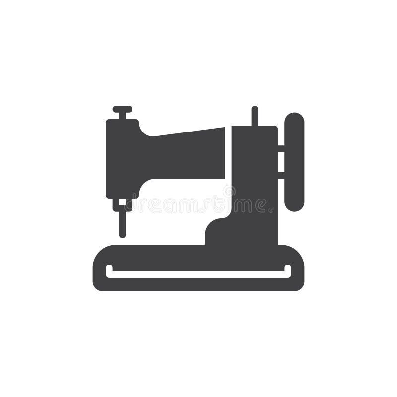 Het vector, gevulde vlakke teken van het naaimachinepictogram, stevig die pictogram op wit wordt geïsoleerd vector illustratie