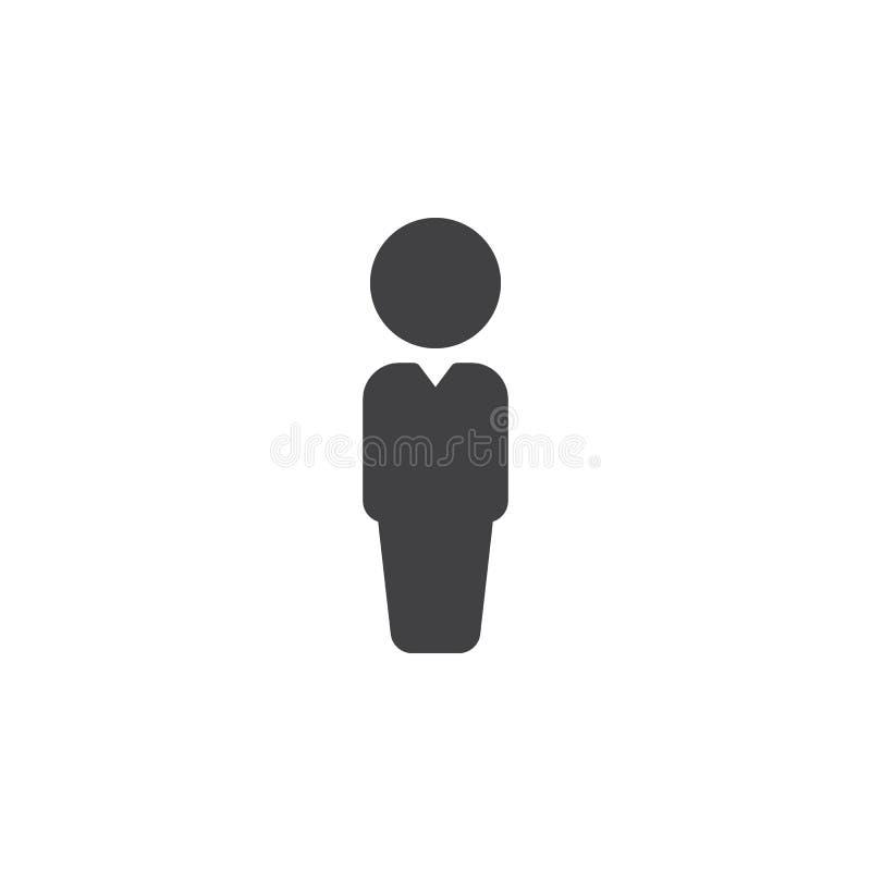 Het vector, gevulde vlakke teken van het persoonspictogram, stevig die pictogram op wit wordt geïsoleerd stock illustratie