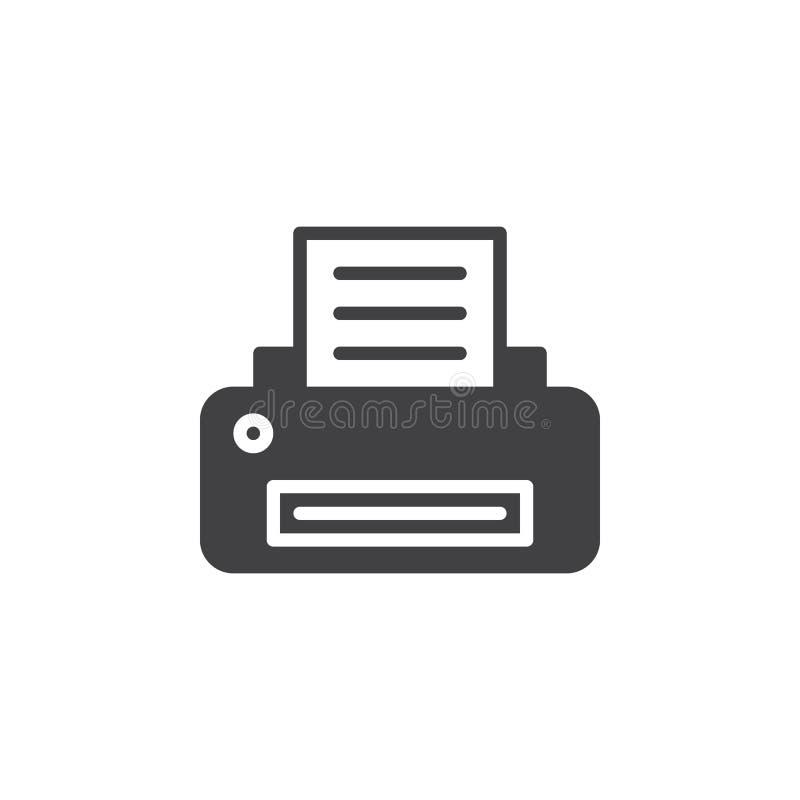 Het vector, gevulde vlakke teken van het printerpictogram, stevig die pictogram op wit wordt geïsoleerd vector illustratie