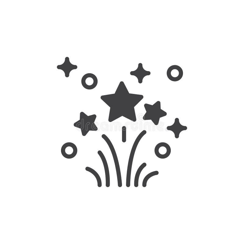 Het vector, gevulde vlakke teken van het vuurwerkpictogram, stevig die pictogram op wit wordt geïsoleerd royalty-vrije illustratie