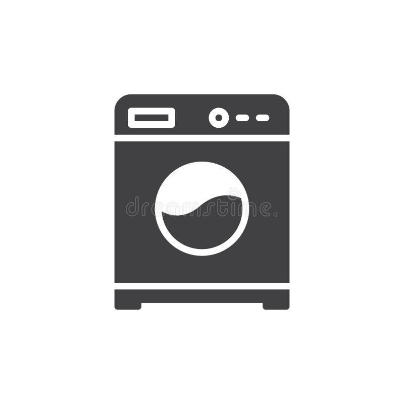 Het vector, gevulde vlakke teken van het wasmachinepictogram, stevig die pictogram op wit wordt geïsoleerd vector illustratie