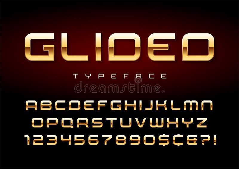 Het vector glanzende gouden ontwerp van de vertoningsdoopvont, alfabet, karakter - reeks vector illustratie