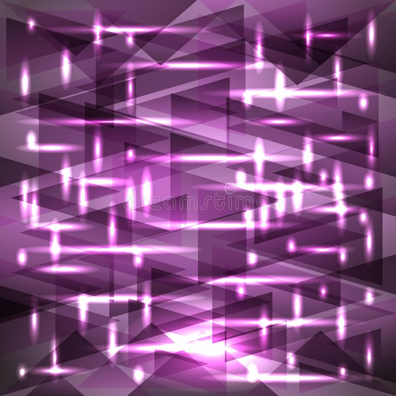 Het vector glanzende hemel-lilac patroon van de zonsondergangkleur van scherven en streep stock illustratie