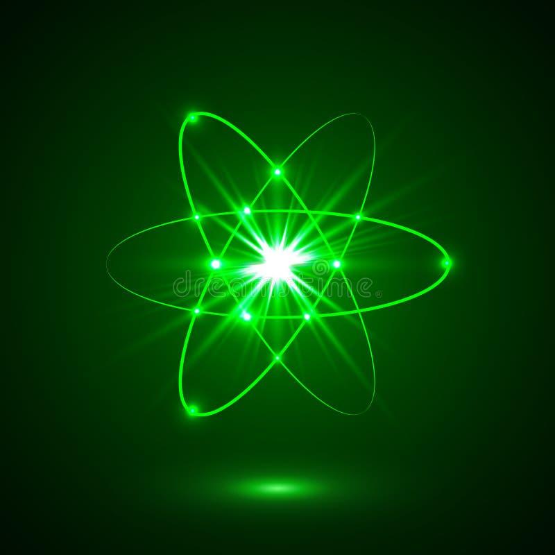 Het vector glanzende model van het neonlichtenatoom stock illustratie