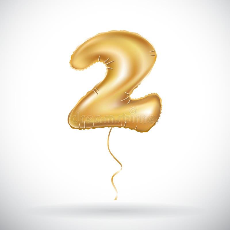 Het vector Gouden deel van de ballondoopvont van nummer twee, 2 Paar twain royalty-vrije illustratie