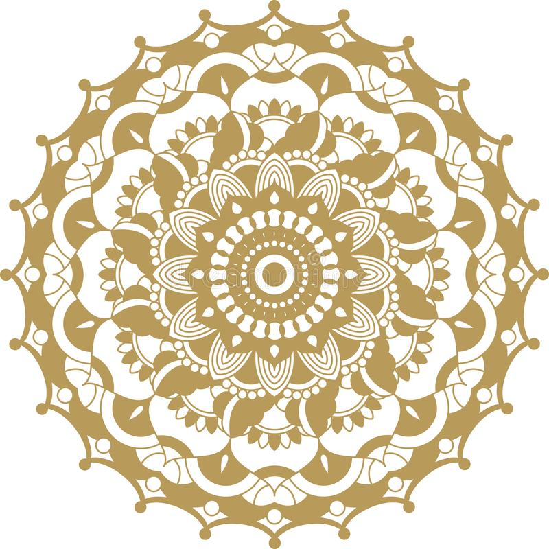 Het vector gouden ornament van contourmandala Oosters rond patroon stock foto