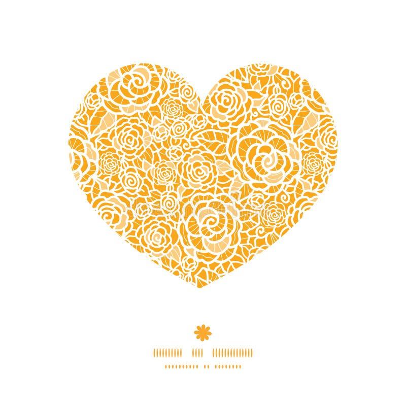 Het vector gouden patroon van het het hartsilhouet van kantrozen vector illustratie