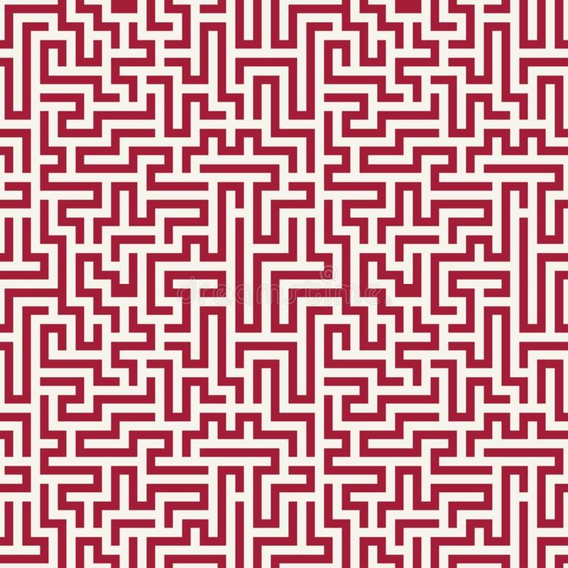 Het vector grafische abstracte patroon van het meetkundelabyrint rode naadloze geometrische labyrintachtergrond stock illustratie