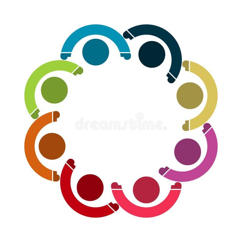 Het vector grafische embleem van de groepsverbinding Acht mensen in de cirkel het werk van het embleemteam royalty-vrije illustratie