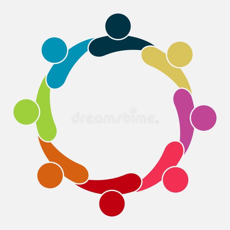 Het vector grafische embleem van de groepsverbinding Acht mensen in de cirkel het werk van het embleemteam, Vectorillustratie royalty-vrije illustratie