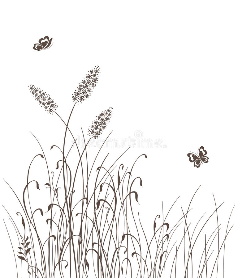 Het vector gras silhouetteert achtergrond vector illustratie