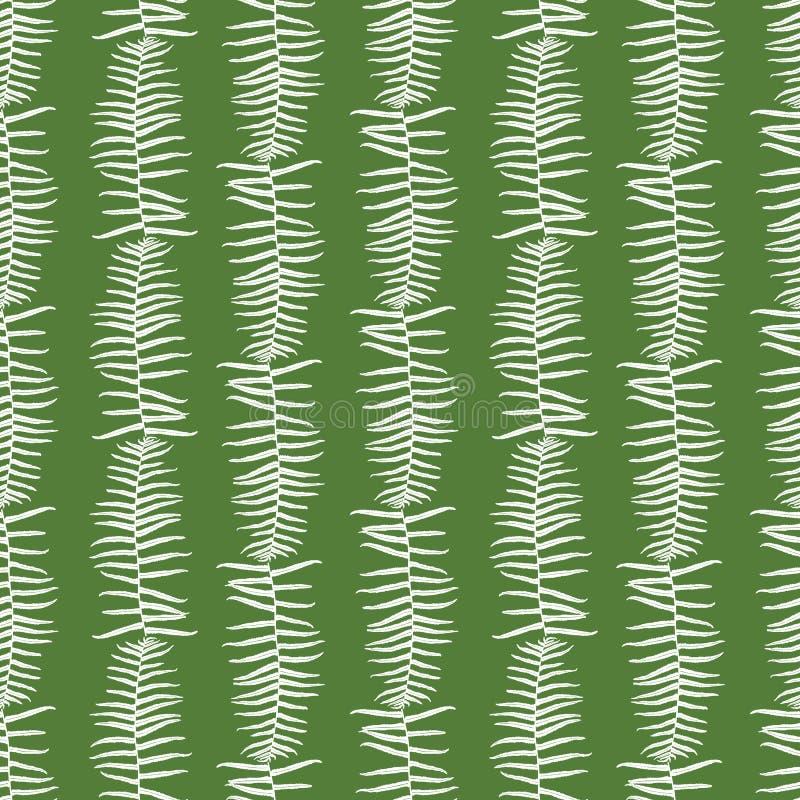 Het vector groene naadloze patroon met varen verlaat verticale strepen Geschikt voor textiel, giftomslag en behang stock illustratie