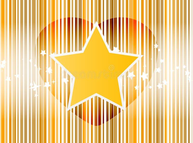 Het vector Hart van de Ster met strepen gouden achtergrond royalty-vrije stock foto