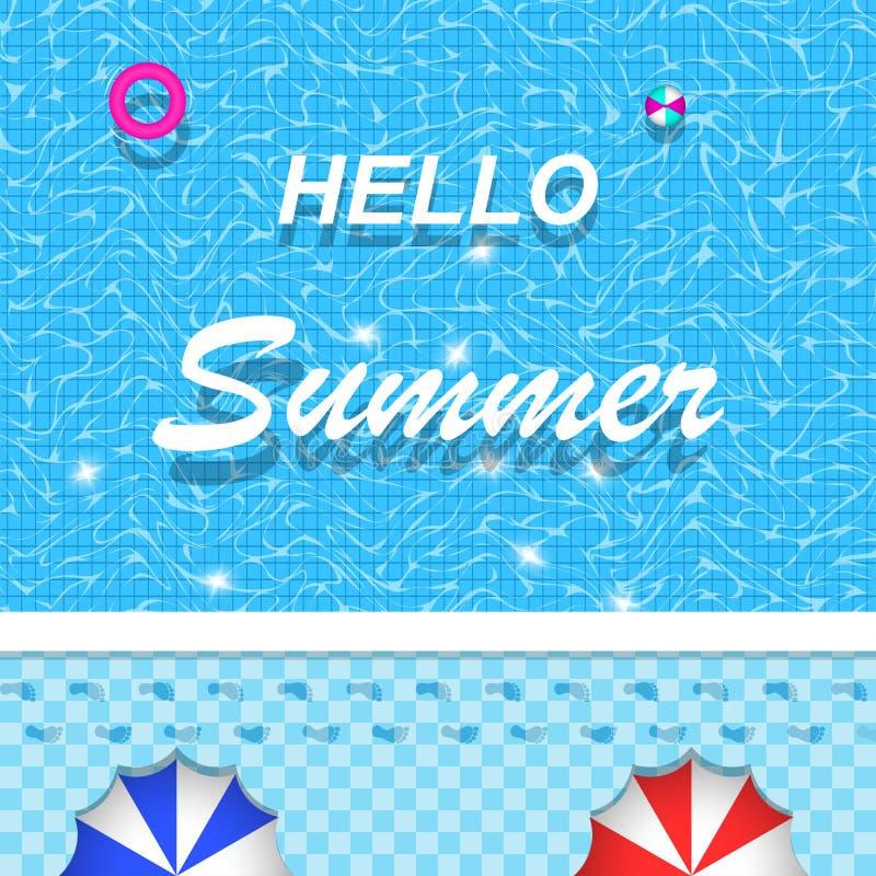 Het vector hello de zomer van letters voorzien op zwembad voor banner, brochure en uitnodigingsontwerp vector illustratie